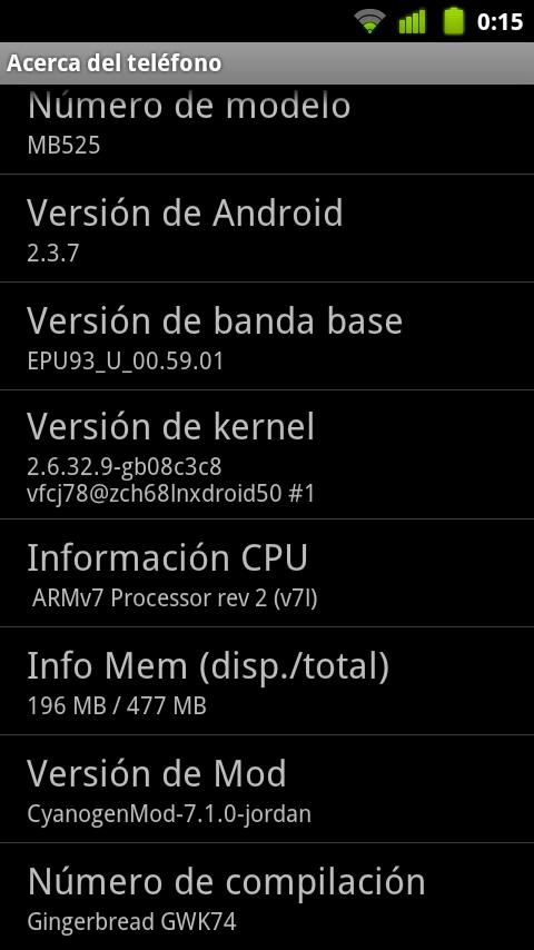 Captura detalles Motorola Defy con Cyanogen 7.1